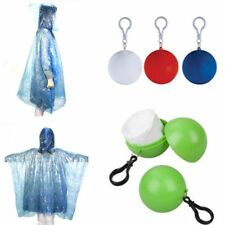 Portable Hooded Emergency Raincoat Poncho Rainwear Rain Jacket W/ Keyring Ball