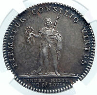 1750 FRANCE King LOUIS XV St Louis Military Order Silver French Medal NGC i87854