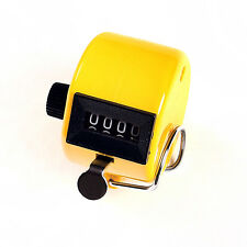 Yellow Chrome Hand held 4 Digit display Number Tally Counter Clicker Golf New