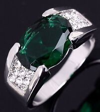 Size 8 Emerald Gold Filled Halo Fashion Jewelry Wedding Engagement Man's Ring