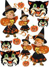 Halloween Vintage Witches & Cats Waterslide Decals