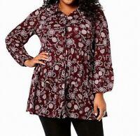 Style & Co. Women's Button Down Shirt Purple Size 2X Plus Floral Print $56 #386