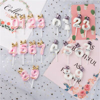 Birthday Cake Toppers Number Candles Party Candle Numbers Girl Boy Glitter 0-9