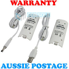 2 x RECHARGEABLE BATTERY PACK (3600mAh) - White - for Nintendo Wii Remote
