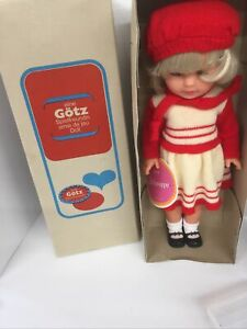 """Vintage Gotz Stehpuppe Vinyl Doll in Box 17"""" And Tags 16/42/71"""