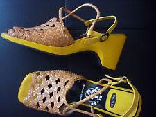KOLLFLEX PIEL bonitas sandalias plataforma TACON CUÑA mujer nº 41 NUEVO AMARILLO