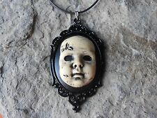 CREEPY BABY DOLL (HAND PAINTED) CAMEO NECKLACE - SCARY DOLL, GOTH, ZOMBIE BABY