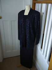 GINA BACCONI NAVY BLUE SPARKLE SKIRT SUIT