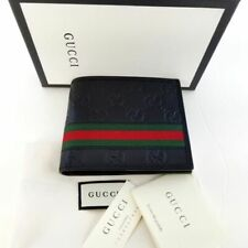 New Gucci Authentic Mens Black Bi fold Web Strip Guccissima Wallet with Box