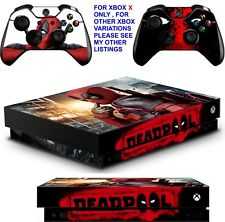 DEADPOOL XBOX ONE X **TEXTURED VINYL ! **PROTECTIVE SKINS DECALS WRAP STICKERS
