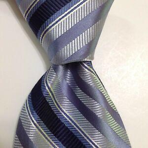 ROBERT TALBOTT Best of Class Men's 100% Silk Necktie USA STRIPED Blue/White GUC