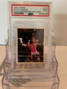 "1997 Panini WWF Superstars Stickers #122 ~ ""THE ROCK"" ROCKY MAIVIA ROOKIE PSA 9!"