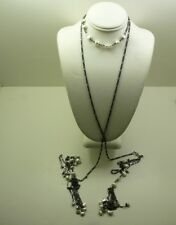 "Lariat 57"" Long 23+ Grams Vintage Oxidized Sterling Silver Pearl"