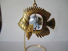 Columpio peces con Swarowski CRISTALES equipado chapado en oro cristal