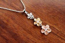 Hawaiian Jewelry 925 Sterling Silver TRI COLOR PLUMERIA Pendant Necklace SP40831