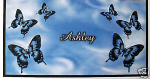 CHECKBOOK COVER PERSONALIZED BLUE BUTTERFLIES