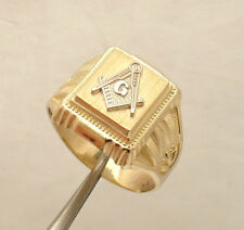 Men's Square Compass Masonic Pinky Signet Ring Real Solid 10K Yellow White Gold