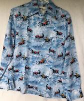 Tori Richard RAREHorses Warriors Silky PolyesterVintage Hawaiian Shirt M 279