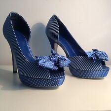 Polka Dot & Striped Stiletto Peep Toe Platforms, Bow & Matching Bag, BLUE & WHT