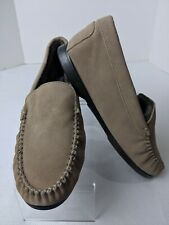 NIB Lands End Women's Moccasins Slip On Loafer With Sole Tan Leather Suede Sz 9M