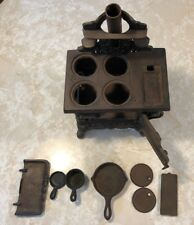 VINTAGE MINIATURE CRESCENT CAST IRON STOVE with ACCESSORIES ~~ COMPLETE ~~ NICE!