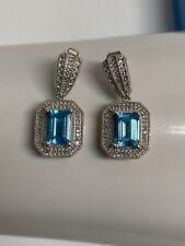 Sterling Silver Topaz & Diamond Drop Earrings, 7.1g, Value $410, 30256