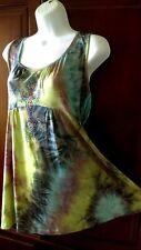 Oneworld Top L boho hippie sublimation stretch knit studs tunic Shirt Blouse