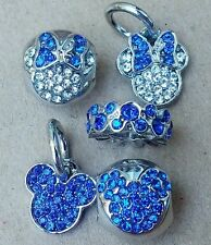 Disney ANNIVERSARY BLUE Crystal Minnie Mickey Mouse Heads European Beads Charms