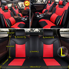 US Car Seat Cover Front+Rear Cushion Microfiber Leather 5-Seats Size L Covers