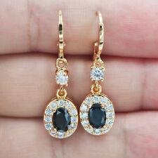 18K Yellow Gold Filled Women Oval Black Topaz Zircon Drop Earrings Jewelry