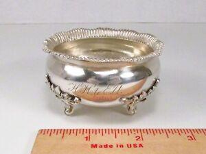 Antique 1860s Era Gorham USA 90% 900 Coin Silver Ornate Salt Cellar Bowl Dish