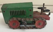 Vtg 1920s STRUCTO Wind Up TRACTOR CRAWLER Pressed Steel WORKING