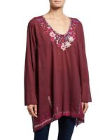 Johnny Was Wish Stitch Tunic Blouse Size 1X Embroidered Boho Floral NWT