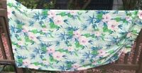 Vintage Mid Century Tropical Palm Flowers Bamboo Drapery pair blue aqua