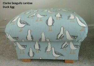 Storage Footstool Clarke Seagulls Laridae Fabric Footstall Pouffe Duck Egg Birds