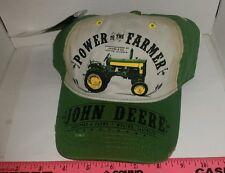 John Deere Power to The Farmer Distressed new! Cap Hat Green Adjustable sharp!