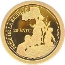 O5006 Vanuatu 20 Vatu Prise Bastille 2014 OR Gold 999% BE PF PROOF