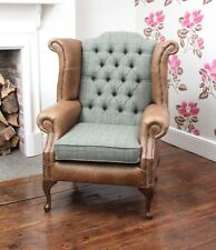 Chesterfield Queen Anne Wing Chair in Vintage Tan Leather and Green Harris Tweed
