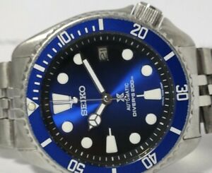 LOVELY SAVE THE OCEAN MODDED SEIKO DIVER 7002-700A AUTOMATIC MEN'S WATCH 6N0757