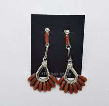 Elegant Zuni Handmade Coral Cluster Earrings Set in Sterling Silver
