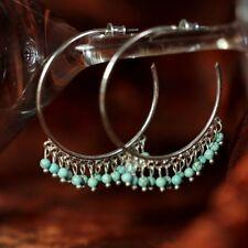 Boucles d`Oreilles Creole Anneau Mini Perle Turquoise Argenté Mariage Cadeau