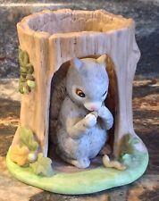 Squirrel In Hollow Log 1984 Porcelain Woodland Surprises Franklin Mint Figurine