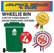 4 X WHEELIE BIN NUMBERS CUSTOM HOUSE NUMBER VINYL GRAPHIC STICKERS DECAL #WB2