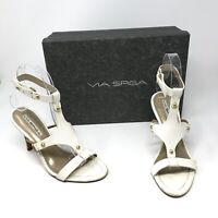 Via Spiga Women's Yooni White Leather Ankle Buckle Open Toe Sandals Heels Shoes