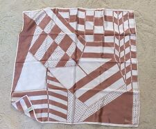 WOMENS VERA NEUMANN TAUPE & WHITE GEOMETRIC SILK SQUARE SCARF  JAPAN