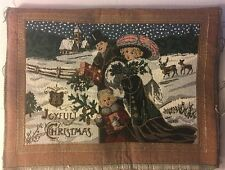 """Set  of 4 Victorian """"Joyful Christmas"""" Fabric Panel NEW for pillows or placemats"""