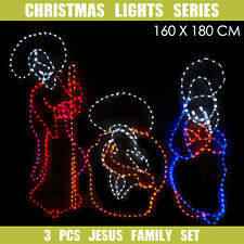 Christmas LED Motif 3 Pcs Jesus Family 160x180cm Indoor Outdoor Display Sign