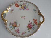 """Bavaria Tirschenreuth Old Meissen 3810 Handled Cake Plate Round Platter 10-1/4"""""""