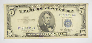 RARE - Crisp 1953-A - Silver Certificate $5 Blue Seal $5 Higher Grade! *153