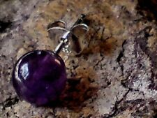 SINGLE STERLING SILVER 6mm.BALL SHAPED STUD EARRING WITH AMETHYST STONE £3.95NWT